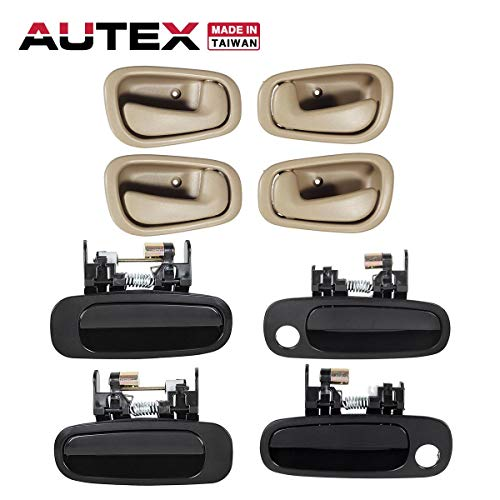 AUTEX 8pcs Exterior Interior Door Handles Front Rear Right Left Driver Passenger Side Door Handle Set Compatible with Toyota Corolla,Chevrolet Prizm 1998 1999 2000 2001 2002 80889, 79501 ()