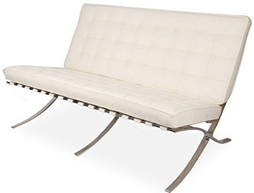 MLF Pavilion Modern Style Loveseat. White Aniline Leather, High Density Foam Cushions (Designer Style Leather Loveseat)