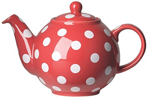 Red White Polka Dot Ceramic Globe 6 Cup Teapot by Now Designs
