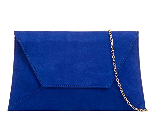 Women'S Royal Blue Clutch Curved Suede Chain Faux Bag Party Strap New Envelope rvqxRwr