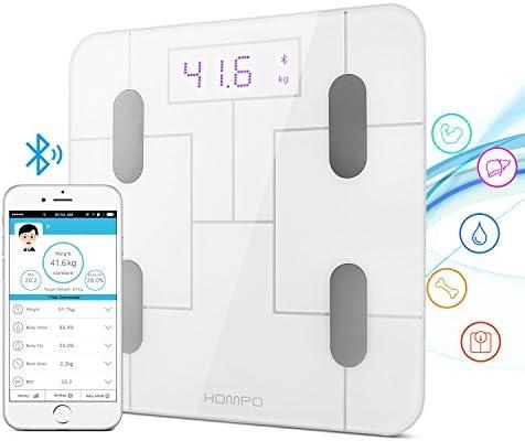 Báscula Baño, HOMPO Báscula de Baño Digital Bluetooth 4.0 con APP Medida de Peso Grasa Masa muscular y Osea Agua ect Pantalla Retroiluminada de Balanza Digital Baño para iOS y Android: Amazon.es: