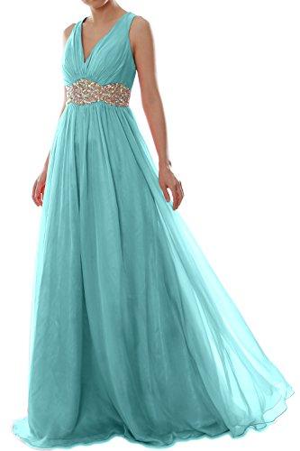 Chiffon Neck Long V Gown Ball Prom Straps Aqua Women Formal MACloth Dress Wedding qwIt14Xwn