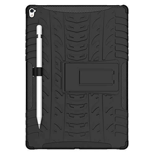 Apple 9.7 inch iPadPro Protector Case with Pen Holder, Heavy Duty Anti Slip Hybrid Protective Back Cover and Shockproof Bumper with Kickstand by Boonix (Black)