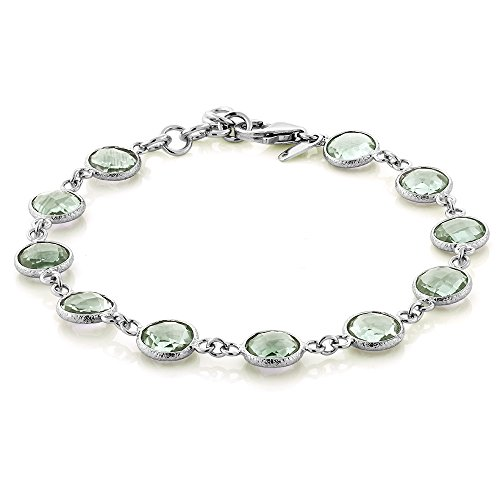 """25.00 Ct Round Green Amethyst 925 Sterling Silver 7"""" Bracelet with 1"""" ext"""