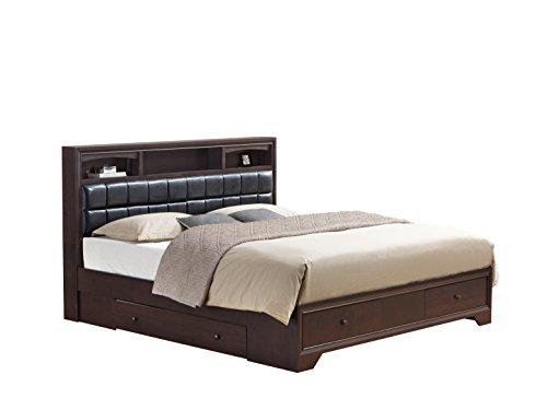 Global Furniture Aria Aurora Collection MDF Wood Veneer Bedroom Set with Dresser, Wenge