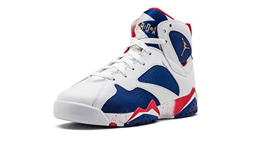 Nike Jordan Big Kids Air Jordan VII Retro (GS) 2016 Olympic (white/mtlc gold coin-deep royal blue) Size 7.0 US