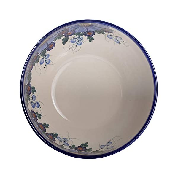 Traditional Polish Pottery, Handcrafted Ceramic Salad or Fruit Bowl 2.8l (d.24cm), Boleslawiec Style Pattern, M.705.Passion