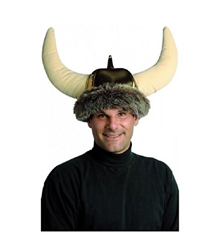 Gold Space Viking Warrior Helmet Hat Costume Accessory Horns Adult Men Women
