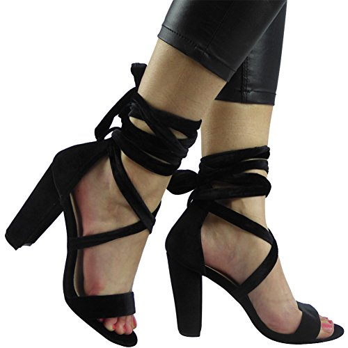 8 New Taglia Peeptoe Womens Sandali 3 Nero Up Tie Strappy nAwAq8H1ax