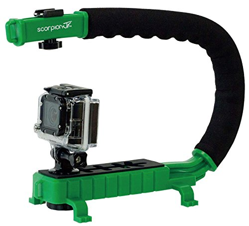 Cam Caddie Scorpion Jr. Video Camera Stabilizing Handle with Included Smartphone and GoPro Compatible Mounts - Green (0CC-0100-JR-GRN) (Scorpion Grip Filming)