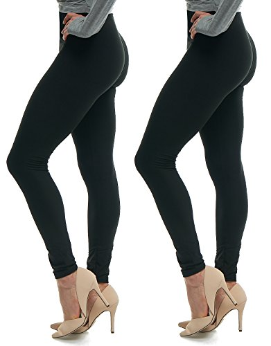 (Lush Moda Extra Soft Leggings - Variety of Colors - One Size - Two Pack (Black-Black))
