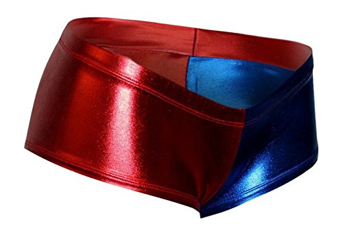 Dilly Duds Red and Blue Metallic Ultra Low Cheeky Booty Shorts (X-Small) for $<!--$32.00-->