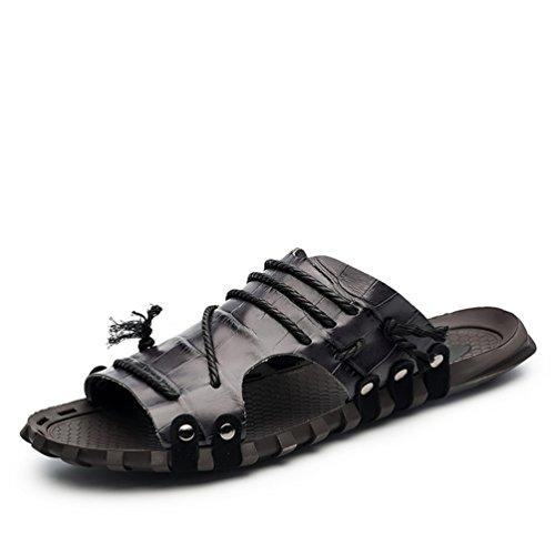 ailishabroy Men's Genuine Leather Summer Beach Sandals Fashion Gym Flip-Flops Black