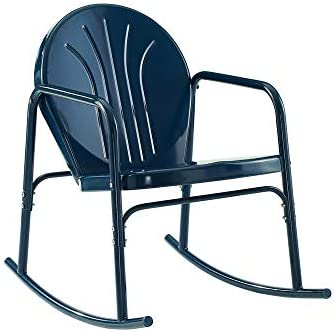 Crosley Griffith Metal Rocking Chair in Navy Gloss Set of 2