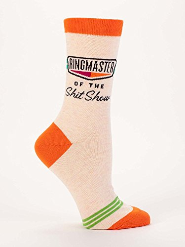 Blue Q Socks, Women's Crew, Ringmaster of The Shit Show (Orange) (Women's Shoe Size 5-10)