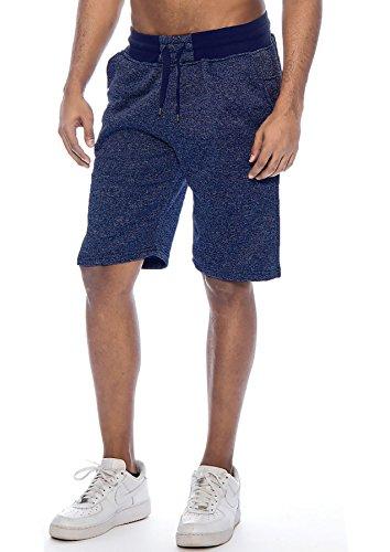 True Rock Men's Jackson Marled Fleece Casual Shorts-Navy Marl-XL