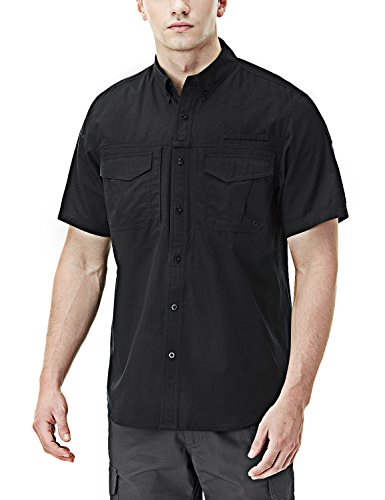 CQR CQ-TOS401-BLK_Large Men's Performance Fishing Gear UPF 50+ Short-Sleeve Breathable PFG Rip-Stop Shirt TOS401