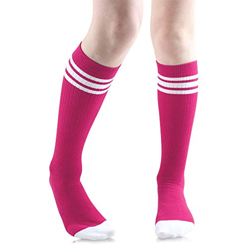 Baby, Toddler & Kids Knee High Tube Socks For Boys & Girls With Grips (6-10 Years (Size 1-4), Hot pink with white stripes)]()