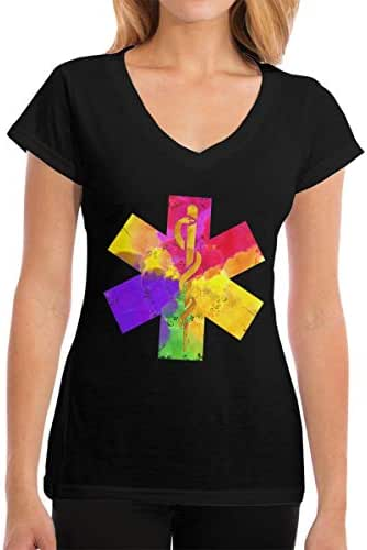 Zhangyi Women Distressed American Flag EMS Star of Life V-Neck ComfortSoft T-Shirts Short Sleeve