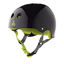 Triple Eight 1379 Helmet with Sweatsaver Liner, Large, Black Glossy with Green