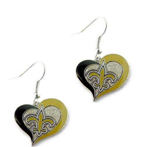 New Orleans Saints NFL Sports Team Logo Swirl Heart Shape French Hook Style Charm Dangle Earring Set (Shape Dangle Charm)