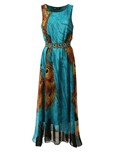 Plus Size Peacock Dress (Bohemian Queen Maxi Empire Chiffon Dress With Plus Size PEACOCKBLUE 1XL)