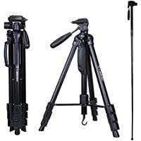 Tripod - Camopro 70 Inches Professional Digital SLR Camera Aluminum Tripod Monopod - Travel Portable Tripod for SLR DSLR Canon Nikon Sony DV Video with Carry Bag