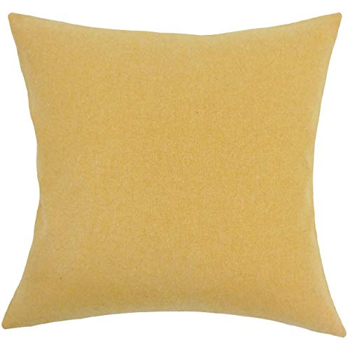 - The Pillow Collection Acadia Solid 24-inch Feather Throw Pillow - Yellow