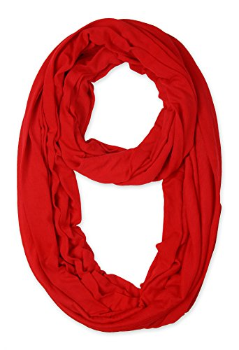 (corciova Light Weight Infinity Scarf with Solid Colors Red)