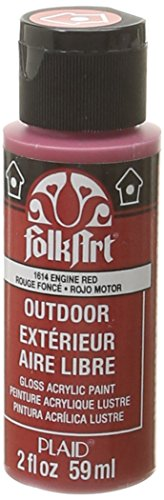 FolkArt Outdoor Acrylic Paint in Assorted Colors (2 Ounce), 1614 Engine Red