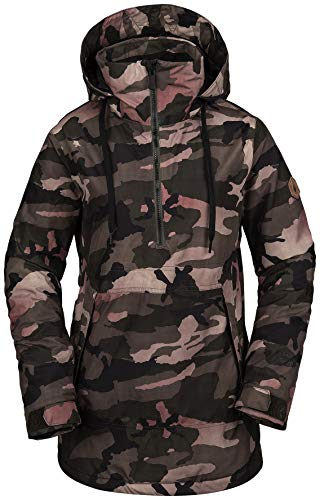 Volcom Women's Fern Insulated Gore-tex Pullover Snow Jacket, Faded Army, Large