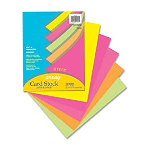 Pacon Card Stock, 8 1/2 inches by 11 inches, Bright Color Assortment, 100 Sheets (101175)