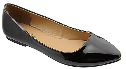 Bella Marie Womens Patent Pointed Toe Classic Ballet Flats Black BZdR64wW