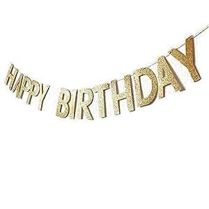 Amazon com: Wetietir Sparkly Glitter Happy Birthday Banner Party