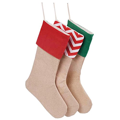 Tailbox Set of 3 Merry Christmas Stockings - Large Christmas Linen Craft Socks Gift Bags Hanging Decorations for Holiday - Christmas Order Stockings