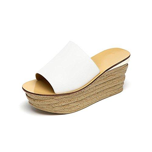 Heart&M Moda Todo-fósforo de tacón de cuña del tacón alto de las mujeres del mollete suela de plataforma sandalias de los deslizadores white 8cm