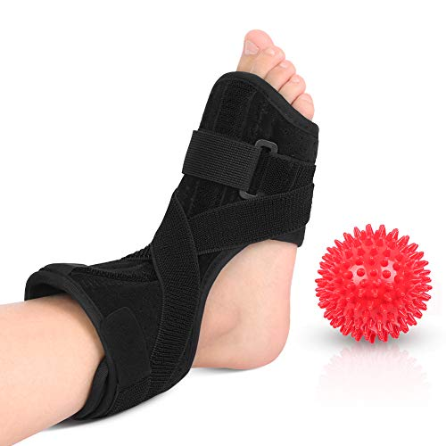 Plantar Fasciitis Foot Splint, Night Dorsal Splint Foot Support Arch Orthotic Brace with Spiky Massage Ball for Drop Foot, Achilles Tendinitis, Heel Spurs, Heel Pain Relief
