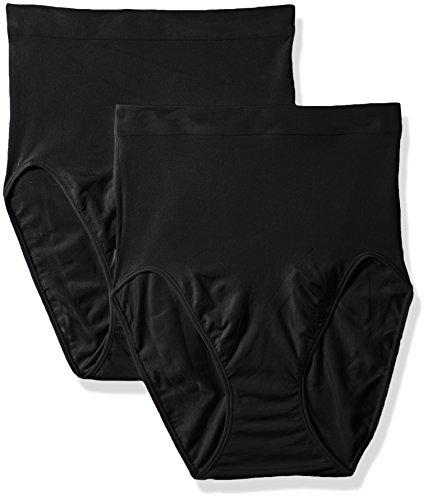 Flexees Maidenform Women's Shapewear Hi-Cut Brief 2-Pack, Black/Black, 2X/18