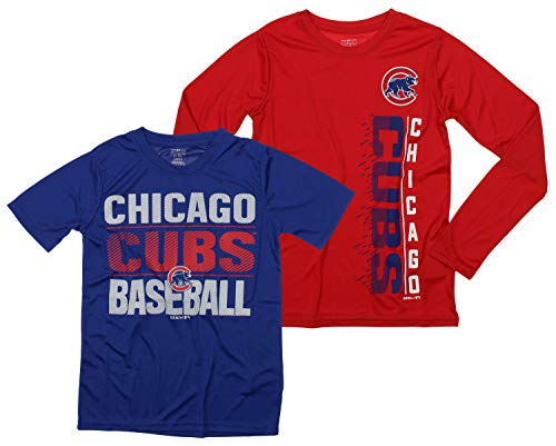 - Outerstuff MLB Boys Young Baseball Fan Two Performance T-Shirt Set, Chicago Cubs, Small 8