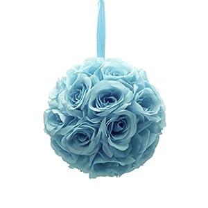 "Mememall Fashion 9"" Inch Rose Kissing Ball Pomander Flowers Crystal Pew Bows Wedding Decorations 11"