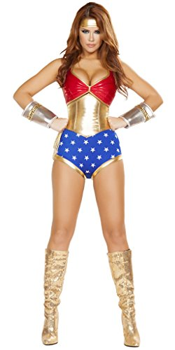 Sexy Classic Wonder Woman Halloween Costume - Red/Gold/Blue - Medium (Superwoman Halloween Costumes)