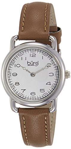 Burgi Women's BUR121SSBR Classic Two-hand Silver & Light Brown Leather Strap Watch