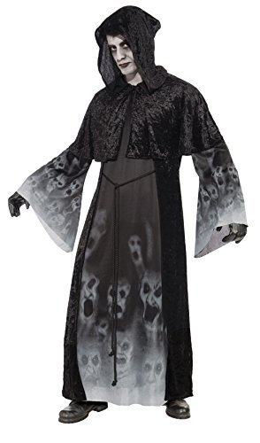 Men's Forgotten Souls Spirit Ghost Grim Reaper Outfit Halloween Costume, OS (Up to 42)