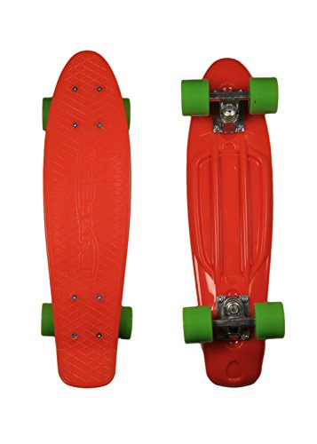 MoBoard Graphic Complete Skateboard | Pro / Beginner | 22 inch Vintage Style with Interchangeable Wheels | (ORANGE-GREEN)