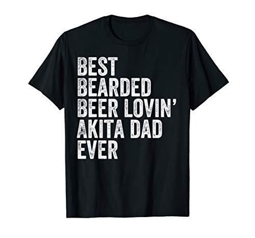 Mens Best Bearded Beer Lovin Akita Dad T-Shirt Pet Dog Owner Gift