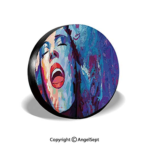 Spare Tire Cover,Illustration of Singer on Grunge Background Performing Singing Woman Image,Blue Purple Red,for Jeep Trailer RV SUV Truck Camper Travel Trailer Accessories,15 Inch (Best Female Blues Singers Of All Time)