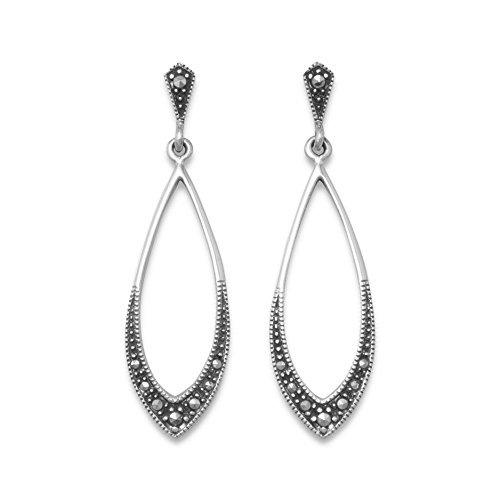 Sterling Silver Marcasite Soft Marquise Shape Drop Earrings Post Back Earrings Hang 42mm