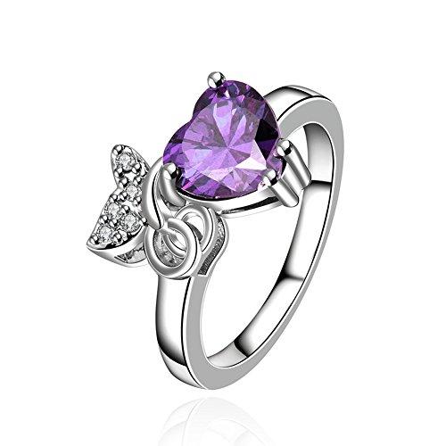 [Amethyst Jewelry Sets Crystal Love Heart Statement Pendant Necklace & Stud Earrings & Ring CZ] (Elizabeth Bass Costume Designer)