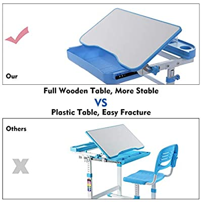 Kids School Desk Chair Set, Height Adjustable Children Boys and Girls Studying Table and Chair Set with Pull Out Drawer Storage and Tilted Desktop for Painting or Doing Homework at Home (Blue): Kitchen & Dining