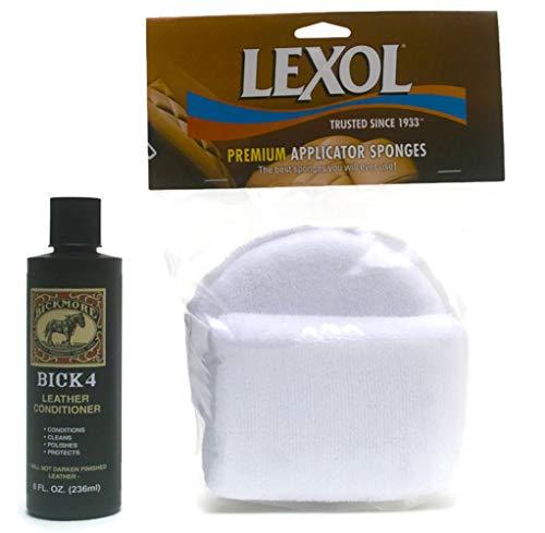 Bick 4 Leather Conditioner, 8 oz with Lexol Microfiber Sponge Applicator Pad 2 Pack Bundle